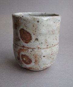 Tea Cup, Yunomi, Shino Glaze, by George Gledhill
