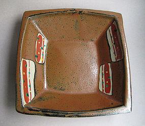 Square Dish, Mashiko-yaki; Munetoshi Tagami
