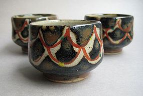 3 Guinomi, Sake Cups; Mashiko-yaki, Isamu Tagami