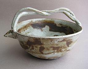Braid-handled Bowl for Sake, Flowers, Food; Sachiko Furuya