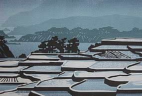 "Clifton Karhu Woodblock Print ""Snow at Tango Cho"", 1980"