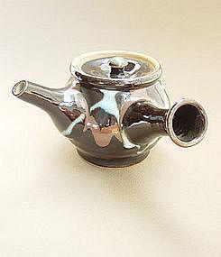 Mashiko Teapot, Kyusu, Black & Kaki Glaze