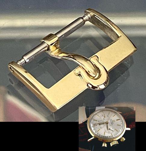 Omega 18k Yellow Gold .750 fine 16mm Logo Buckle C:1970