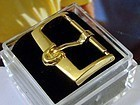 Vintage Omega Yellow 16mm Logo Buckle Aciernox Deposc
