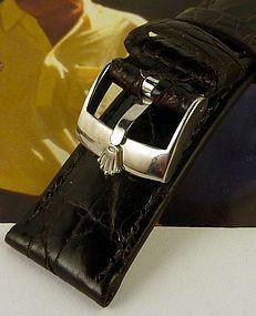 Rolex 16mm Steel Logo Buckle 20mm Dark Brown Genuine Crocodile Strap