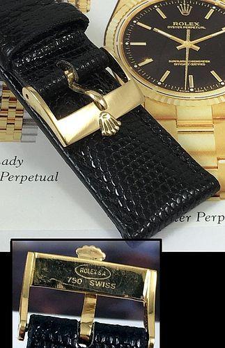ROLEX 18k GOLD Logo Buckle 19mm Black Lizard Strap