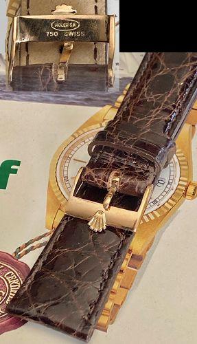 Rolex 18k ROSE GOLD Logo Buckle 20mm Tobacco Lizard 20mm