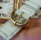 Cartier White Lizard 15mm Strap Yellow Logo Buckle