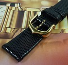 CARTIER 15mm Logo Buckle Yellow Gold Plate 14mm LIZARD