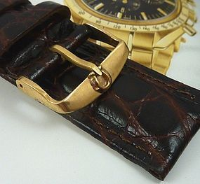 Omega 18mm Yellow Logo Buckle 22mm Dk Brown Strap