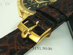 Omega Gold Speedmaster Series 18mm Buckle 20mm Dk Brown