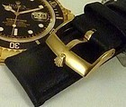 Rolex SUBMARINER Model 18mm 18k Yellow Gold Plate Black Strap