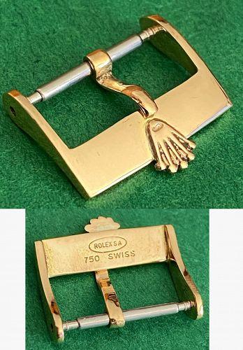 Vintage ROLEX 16mm Logo Buckle 18k YELLOW GOLD ROLEXSA .750 SWISS