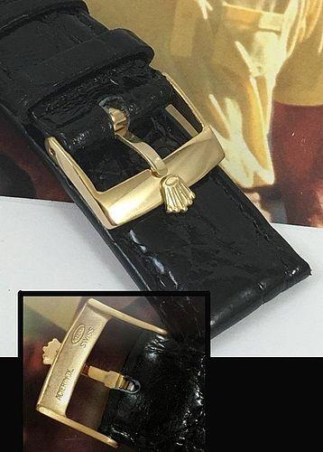 ROLEX DATEJUST SERIES 18mm Rolex 18k Gold Plate 20mm BLACK CROCODILE