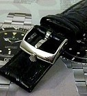 ROLEX 18mm Steel Logo uckle 20mm Black CROCODILE Current