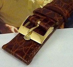 Rolex 18k GOLD 16mm Logo Buckle Natural CROCODILE 19mm Strap