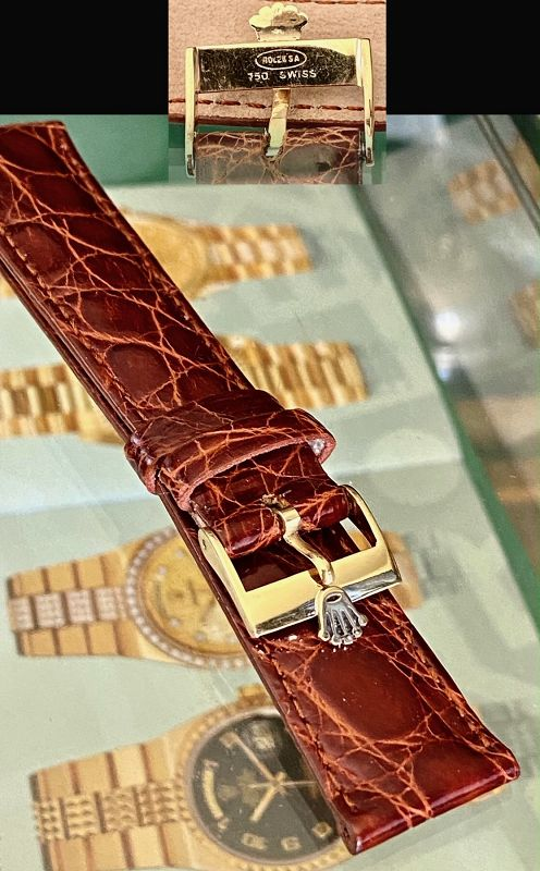 Rolex 18k GOLD 16mm Logo Buckle Natural CROCODILE 19mm Strap
