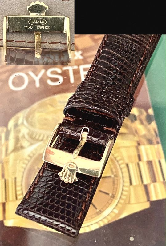 Rolex 18k GOLD Logo Buckle 19mm TOBACCO Lizard Strap