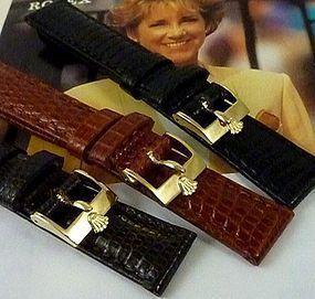 Rolex LADIES DATEFUST date 12mm Plated Logo Buckle TOBACCO LIZARD