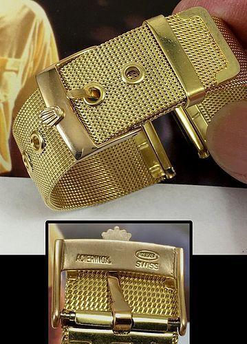 Rolex 18mm Logo Buckle 18k Gold Plate 20mm Mesh Metal PRESIDENT MODEL