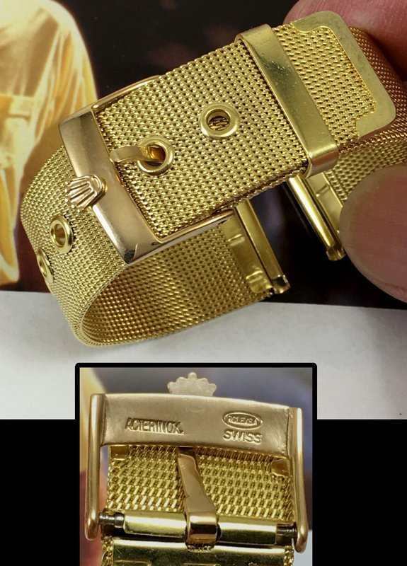 Rolex 18mm Logo Buckle 18k Gold Plate 20mm Mesh Metal Strap 1950s