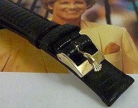 Rolex LADIES DATEJUST DATE 12mm Logo Buckle 14mm BLACK Lizard