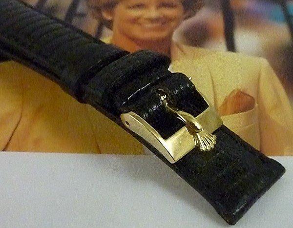 Rolex LADIES DATEJUST DATE 12mm Logo Uckle 14mm BLACK Lizard