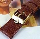 Rolex LADIES DATEJUST DATE 12mm Logo Buckle 14mm TAN Lizard