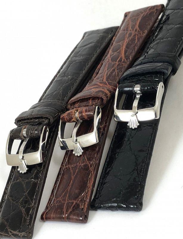 ROLEX DATE SERIES 19mm Black CROCODILE 16mm Steel Buckle