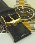 ROLEX 18k Yellow Gold Plate 18mm Logo Buckle 20mm Black CROCODILE