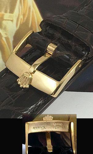 ROLEX DATEJUST SERIES 18k GP 18mm Logo Buckle 20mm TOBACCO CROCODILE