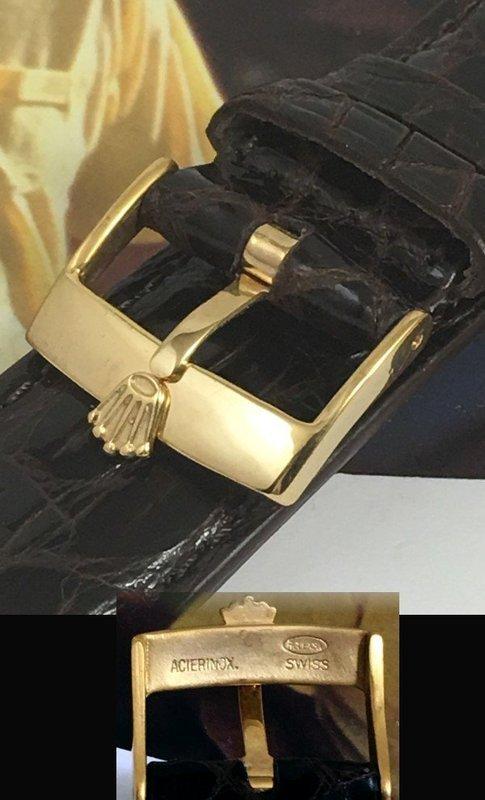 ROLEX 18k Gold Plate 18mm Logo Buckle 20mm TOBACCO CROCODILE
