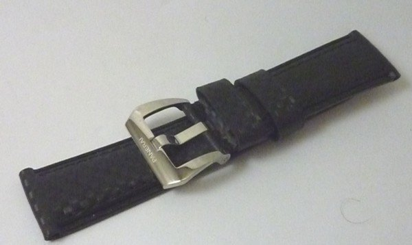 PANERI 24mm CALF Black Strap SEMIMAT finish 22mm Logo Buckle