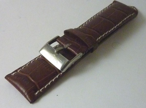 BREITLING 22mm Steel Logo Buckle 24mm Croc Pattern Tan Strap