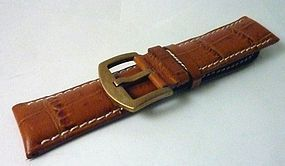 BREITLING 22mm Yellow Logo Buckle 24mm Tan Croc Pattern Strap