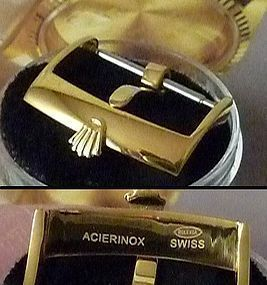 ROLEX 18mm Logo Buckle 18k Yellow Gold Plate; ACIERINOX ROLEXSA