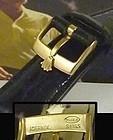 ROLEX 16mm Logo Buckle 18k Gold Plate 20mm Black Genuine CROCODILE