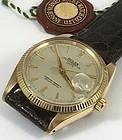 ROLEX 14k GOLD DATE Ref 1503 CROCODILE Rolex Logo Buckle