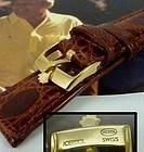 ROLEX 16mm Logo Buckle 18k Gold Plate 19mm Natural CROCODILE