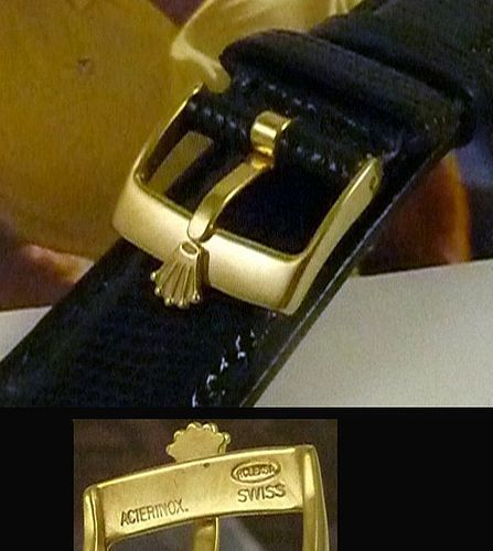 ROLEX 16mm Logo Buckle 18k Gold Plate 20mm Black LIZARD Strap