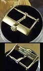 Vintage ROLEX 18mm Yellow 18k Gold Plate Logo Buckle Thin Straight