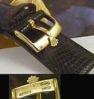ROLEX 16mm Logo Buckle 18k Gold Plate 19mm Tobacco Lizard Strap