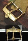 Vintage ROLEX 16mm Yellow 18k Gold Plate Curved Logo Buckle