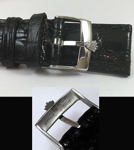 ROLEX 18mm Steel Logo Buckle 20mm Black CROCODILE