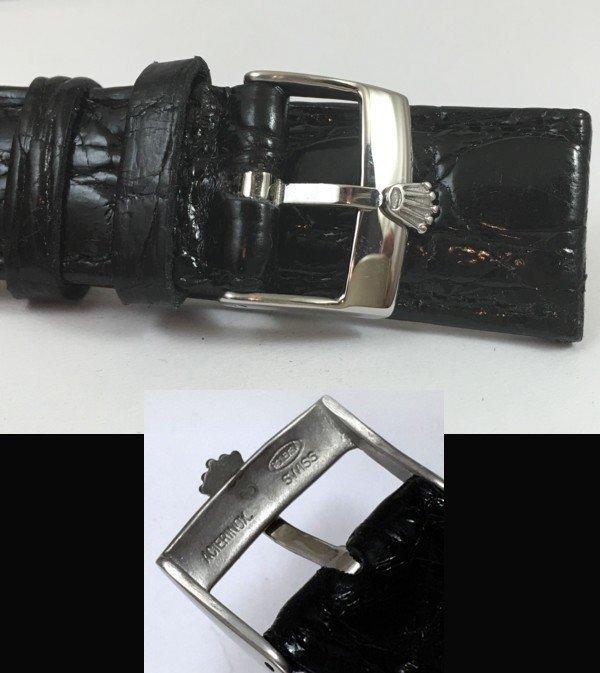 ROLEX 18mm Steel Logo Buckle 20mm Black CROCODILE
