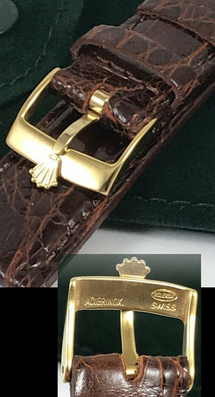 ROLEX 16mm Yellow 18k Gold Plate Logo Buckle 20mm CROCODILE
