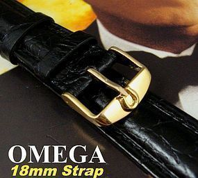 Omega 16mm Gold Logo Buckle 18mm Croc Calf Strap C:1965