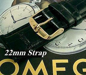 Omega Gold Plate Logo Buckle 22mm African Croco Strap