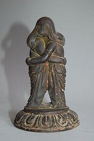 Wooden sculpture of Shoten Kangiten, Japan, Taisho?