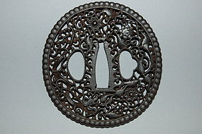 Iron tsuba, nanban style dragons + lotus, Japan, 18th c